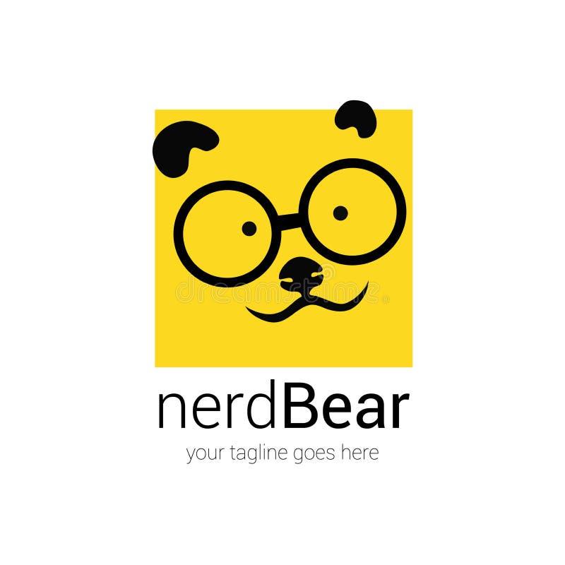 书呆子商标与动画片面孔熊的设计模板在背景的眼睛玻璃 向量例证
