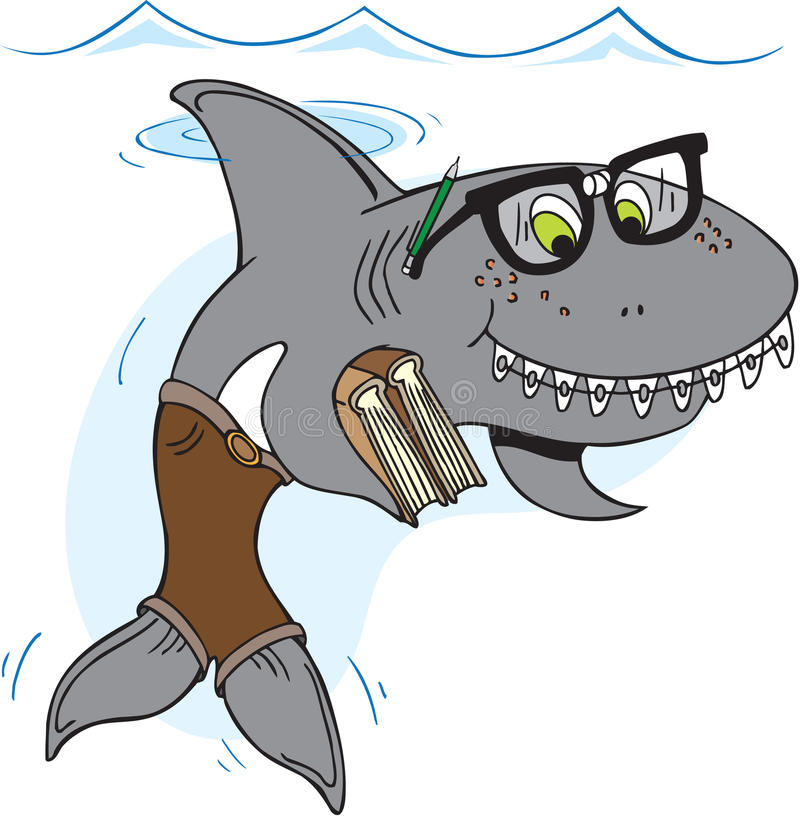 书呆子鲨鱼 库存例证