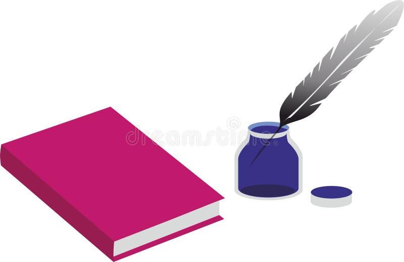 书和一个墨水瓶有笔的 免版税图库摄影