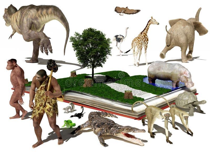 书和动物 向量例证
