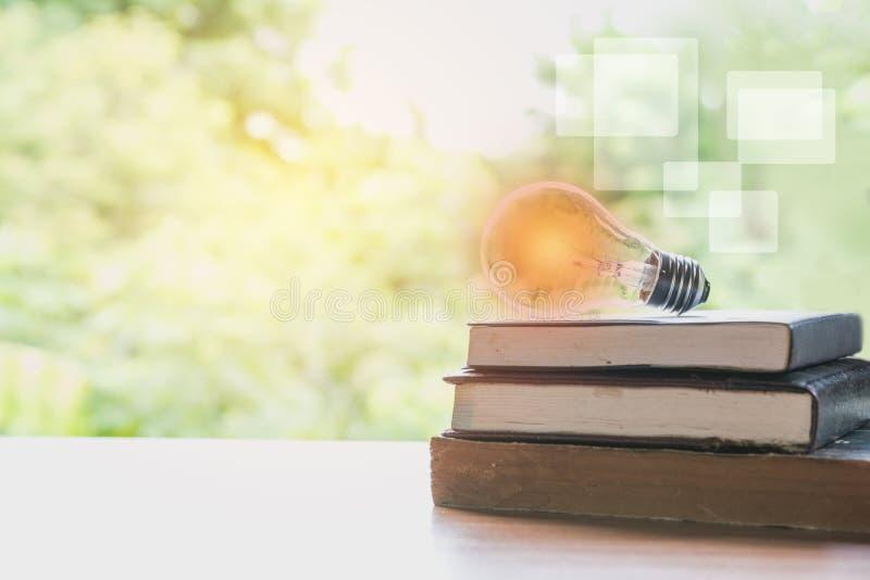 书和发光的电灯泡在它 知识和教育 免版税库存图片