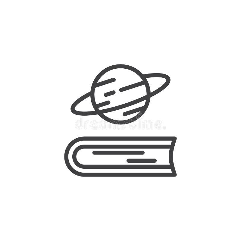 书和土星行星概述象 库存例证