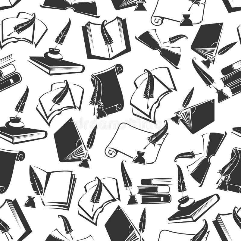 书和墨水纤管传染媒介无缝的样式 皇族释放例证