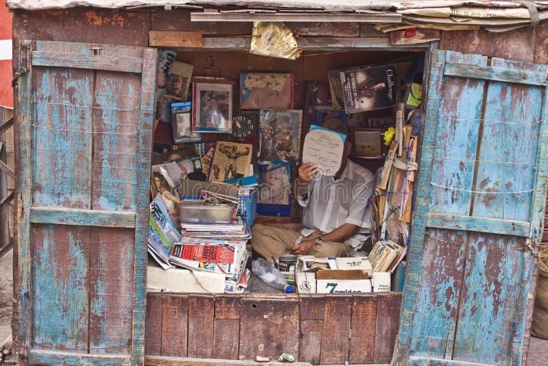 书和杂志卖主 库存照片