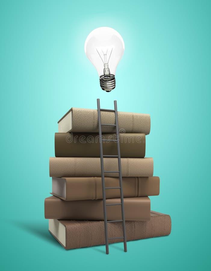 书和电灯泡 库存图片
