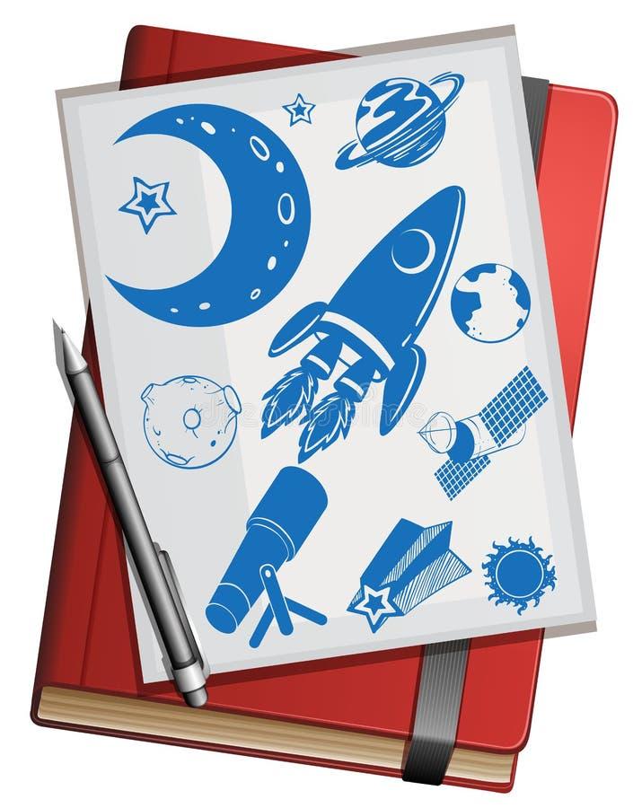 书和科学标志 向量例证