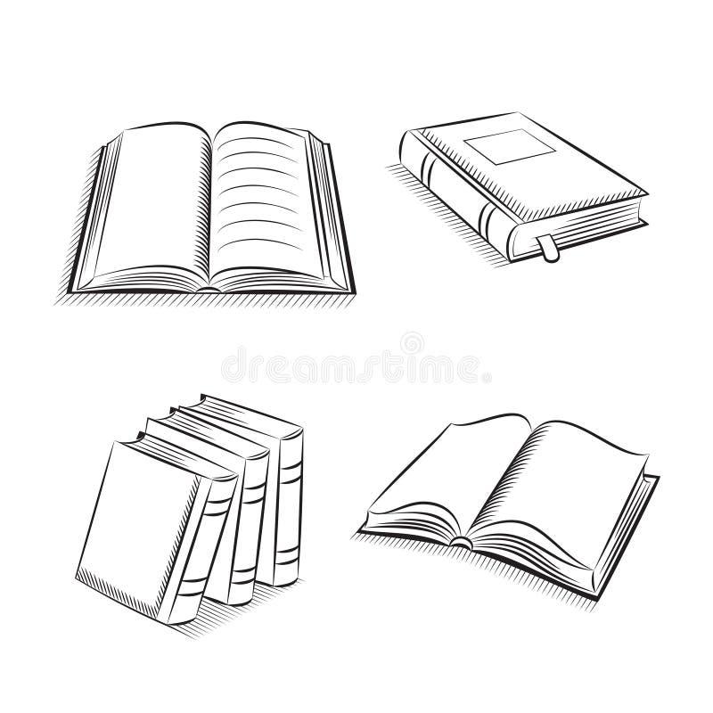 书和笔记本剪影集合 向量例证