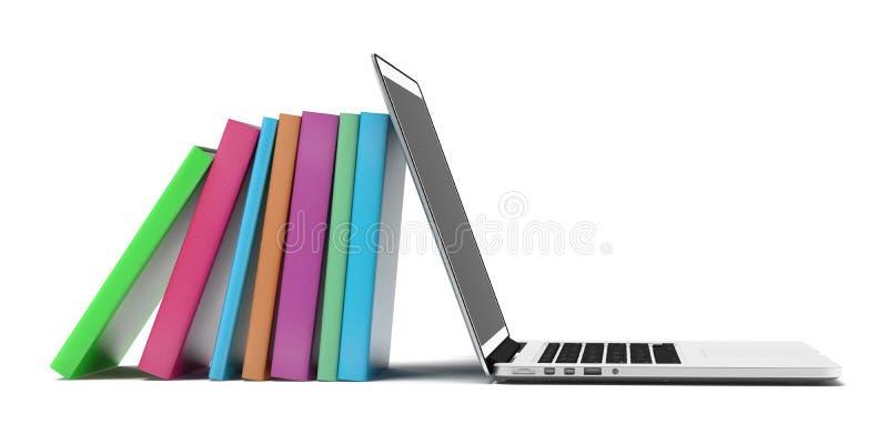 书和膝上型计算机 向量例证