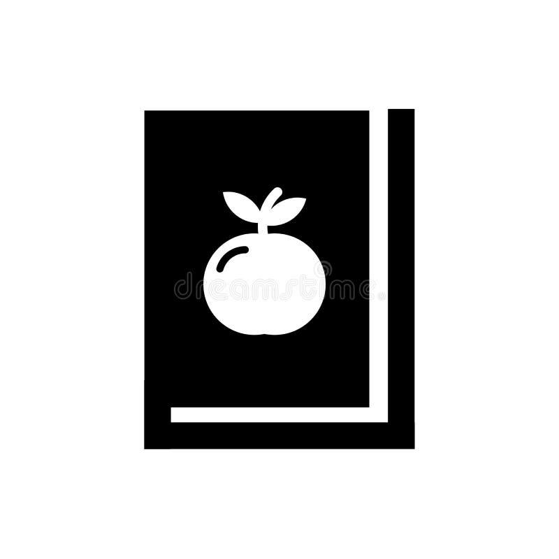 书和苹果象在白色背景,书和苹果商标概念和标志隔绝的传染媒介标志 皇族释放例证
