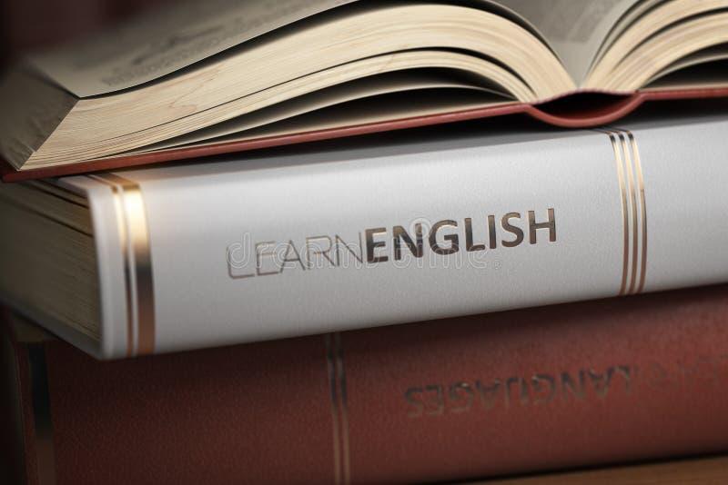 学会英语 书和课本英国学习的 库存例证