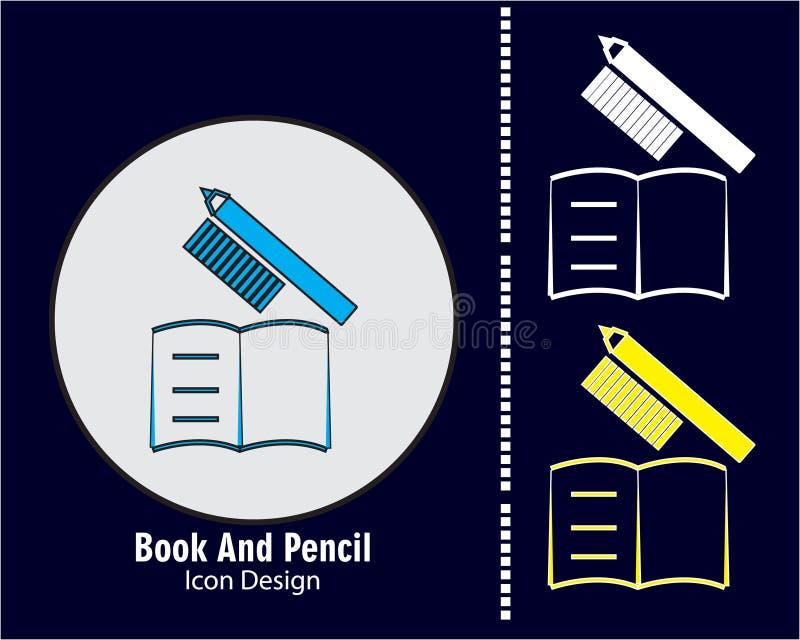 书和铅笔象设计有蓝色黑暗的背景 皇族释放例证