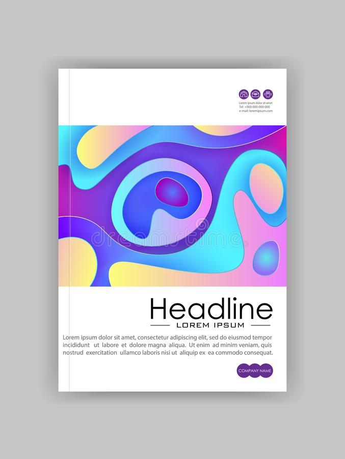 书在A4的封面设计模板与最低纲领派设计 好为学报,会议,横幅,飞行物,书,小册子,艺术 库存例证