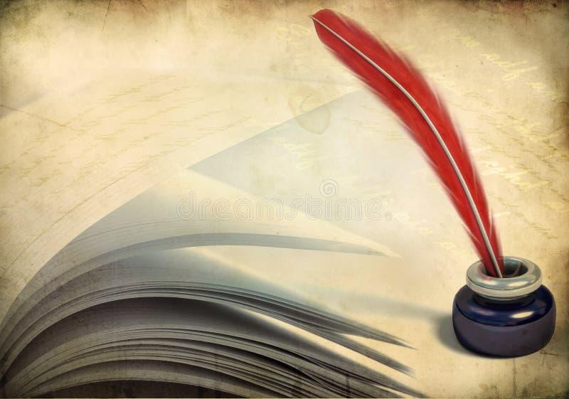 书墨水瓶架被开张的页 库存例证