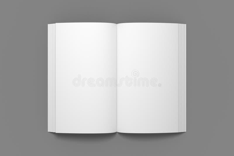 书大模型的空的被打开的3D例证 免版税库存图片