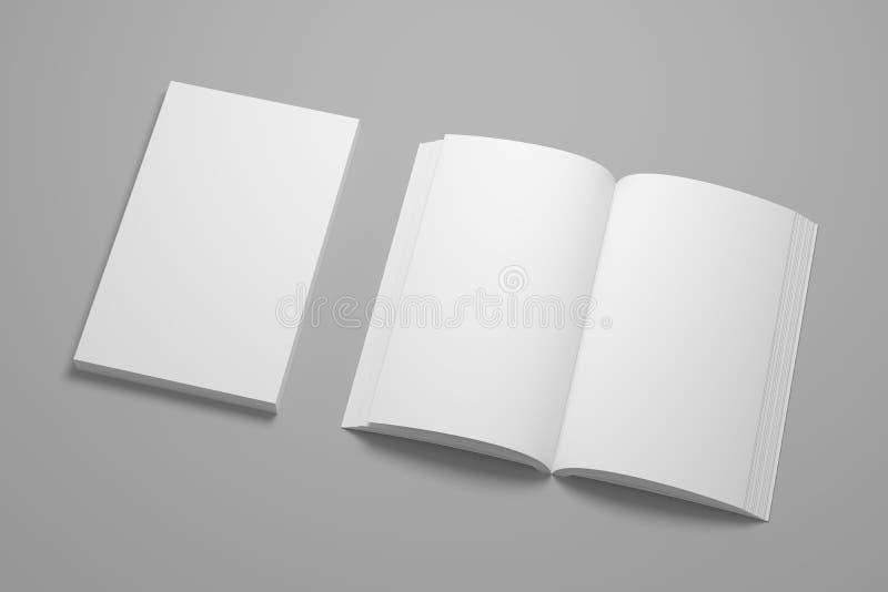 书大模型的空的3D例证 库存照片