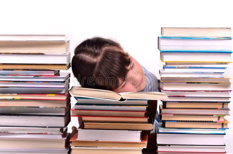 书女孩一点休眠栈 免版税库存图片