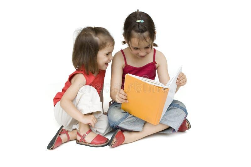 书女孩一点读取 库存照片
