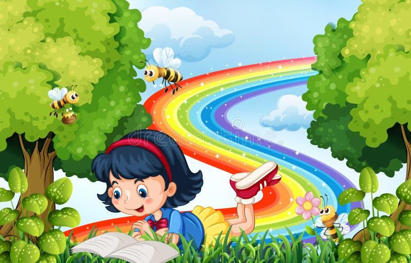 书女孩公园读取 向量例证