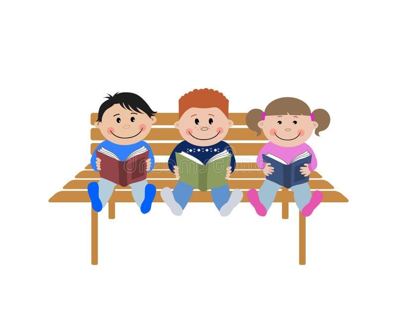 书子项读 两个男孩和女孩坐与书的一条长凳在他们的手上 库存例证