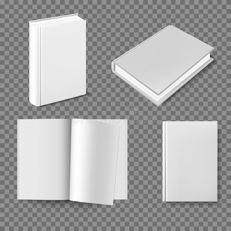 设置空白的书套模板 在白色背景的闭合的垂直的书、杂志或者笔记本大模型 书封口盖板  皇族释放例证