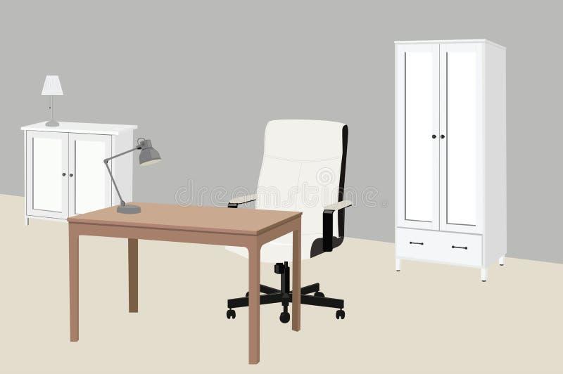书房或带椅子、桌子、衣柜、侧桌和灯的办公室的矢量图 皇族释放例证