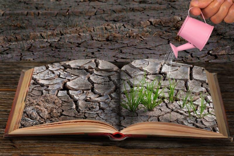 书打开与破裂的黏土故事  免版税图库摄影