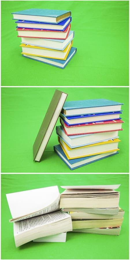 书拼贴画堆积绿色背景 免版税库存照片
