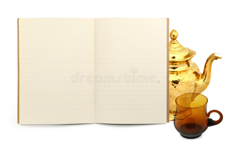 书杯子茶壶 免版税图库摄影