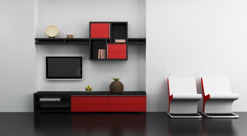 书架内部休息室空间电视 向量例证