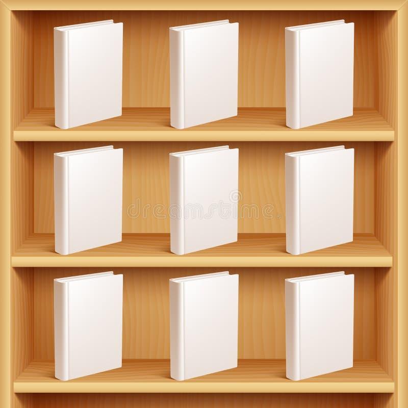 书架和书与封口盖板 向量例证
