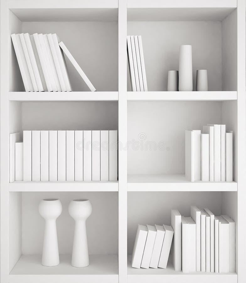 书架和书在白色颜色 向量例证