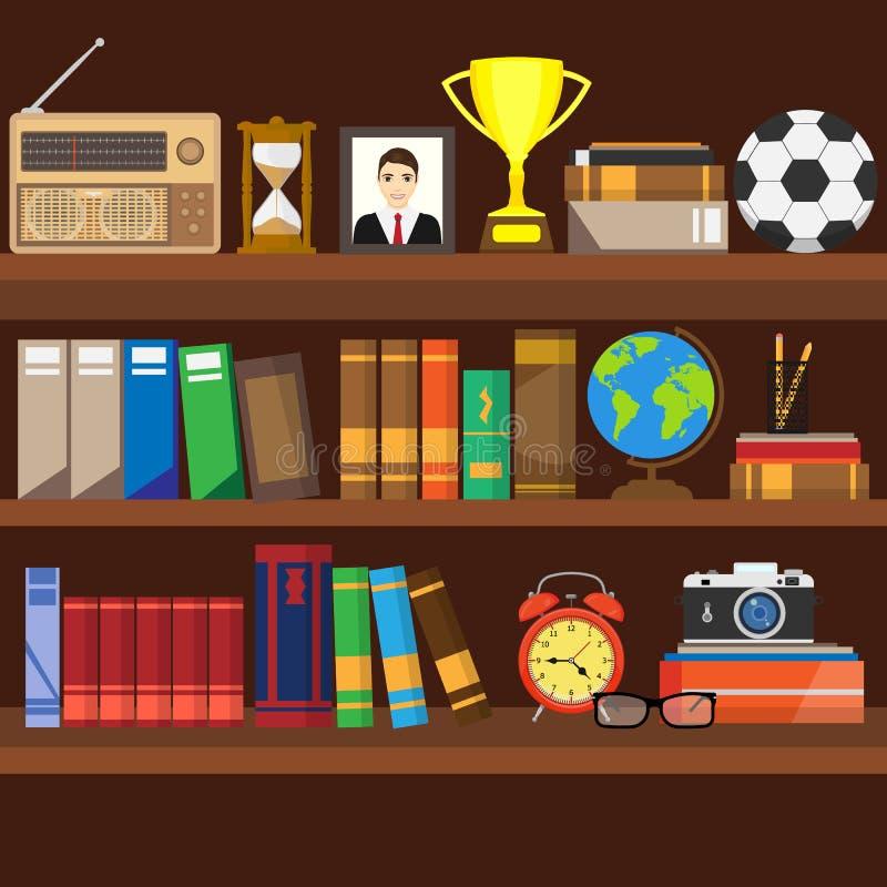 书架 室内书店 用被设置的不同的书的书架 家庭书库内部 读和学会,知识和edu 库存例证