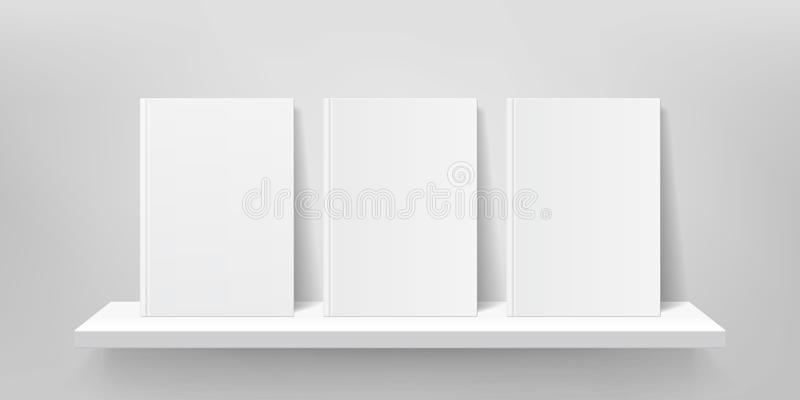 书柜大模型 传染媒介书架墙壁,书封面,画廊商店架子3D 库存例证