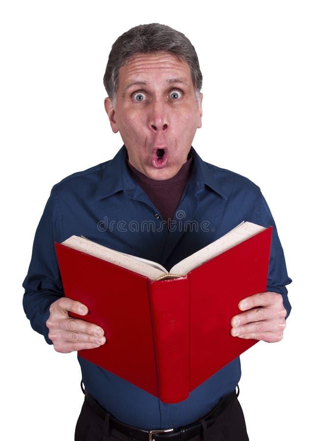 书查出的人读了冲击惊奇白色 库存照片