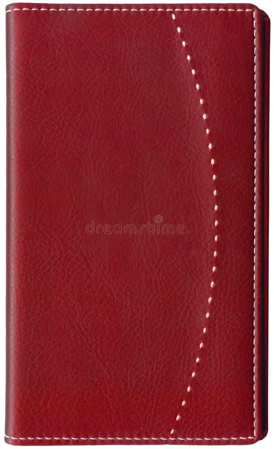 书查出的皮革通知单红色白色 免版税库存照片