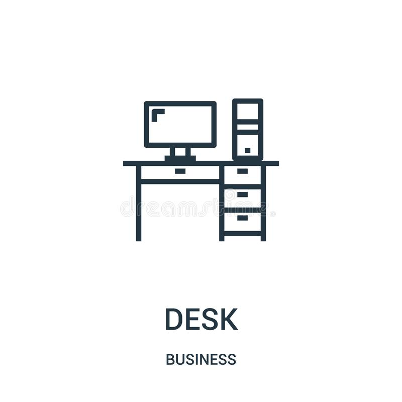 书桌从企业汇集的象传染媒介 稀薄的线书桌概述象传染媒介例证 线性标志为在网的使用和 向量例证