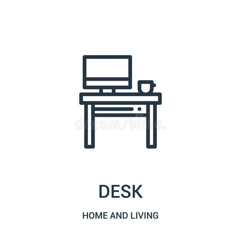 书桌从家和生存收藏的象传染媒介 稀薄的线书桌概述象传染媒介例证 r 皇族释放例证
