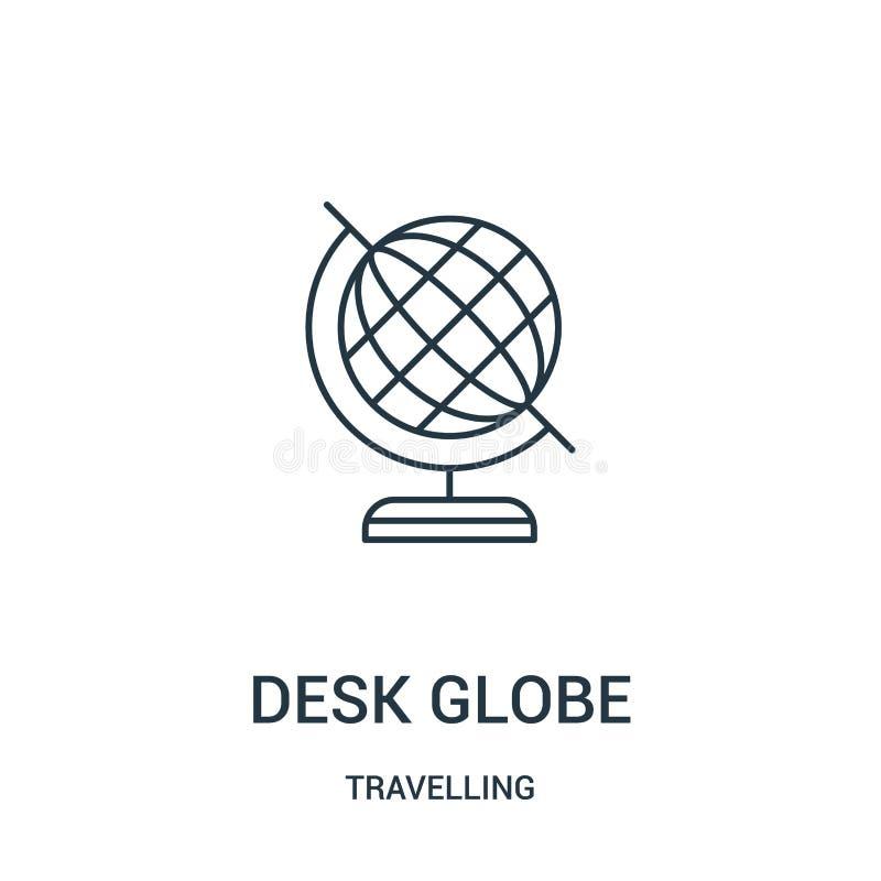 书桌地球从旅行的收藏的象传染媒介 稀薄的线书桌地球概述象传染媒介例证 r 向量例证