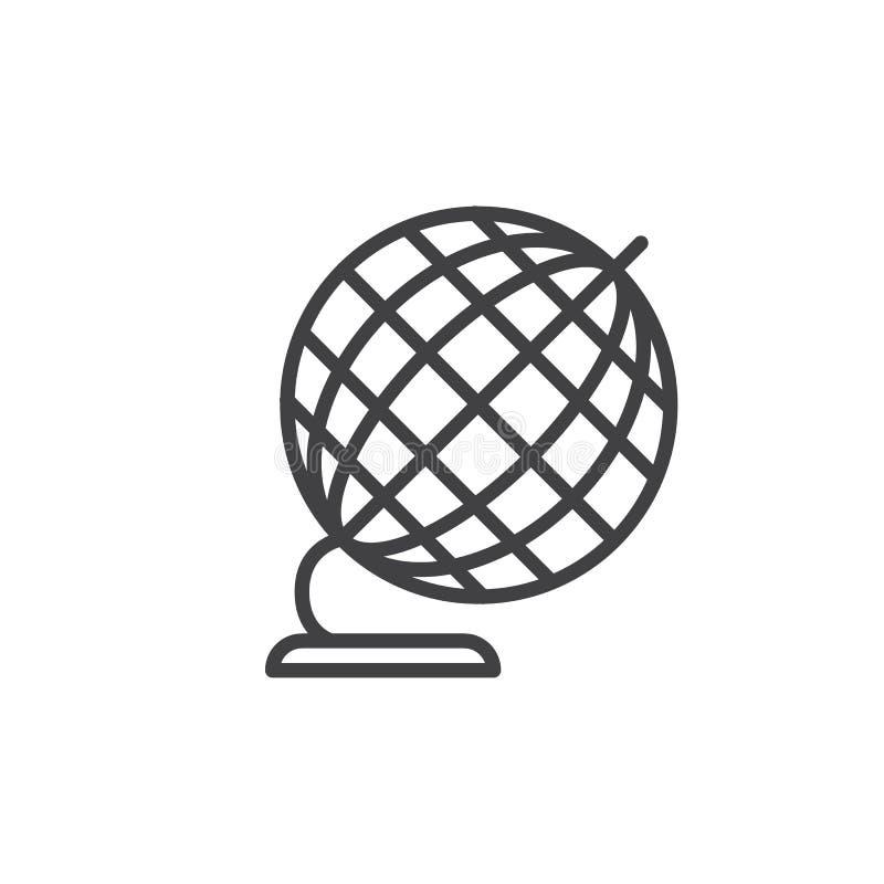 书桌地球线象,概述传染媒介标志,在白色隔绝的线性样式图表 向量例证