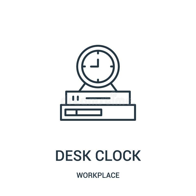 书桌时钟从工作场所汇集的象传染媒介 稀薄的线书桌时钟概述象传染媒介例证 向量例证