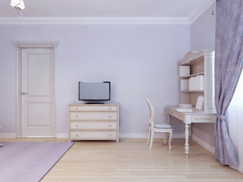 书桌桌和电视在儿童居室 皇族释放例证