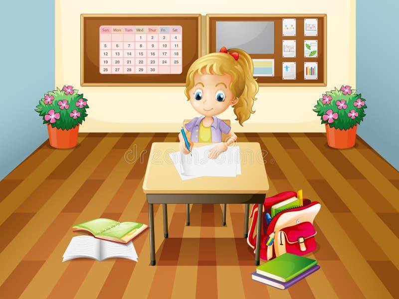 书桌的一个女孩 向量例证