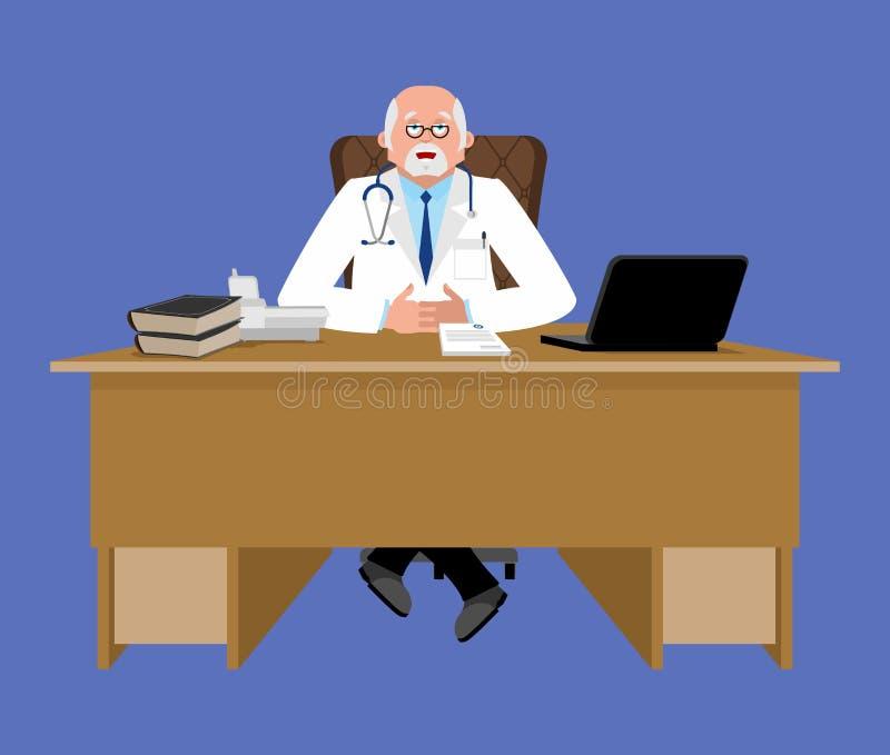 书桌的首席医生 医疗办公室 工作在他的o的医师图片