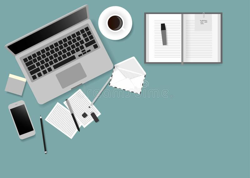 书桌膝上型计算机商人在办公室上的顶视图角度的屏幕例证 皇族释放例证