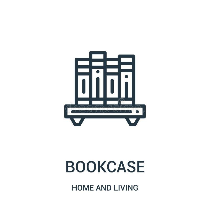 书橱从家和生存收藏的象传染媒介 稀薄的线书橱概述象传染媒介例证 线性标志为使用 库存例证