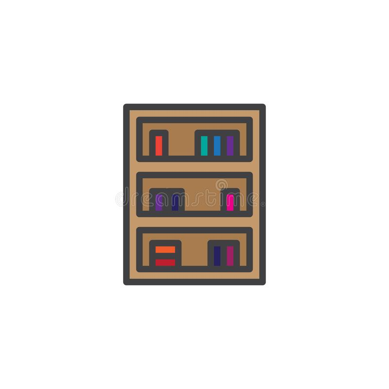 书橱家庭家具被填装的概述象 向量例证