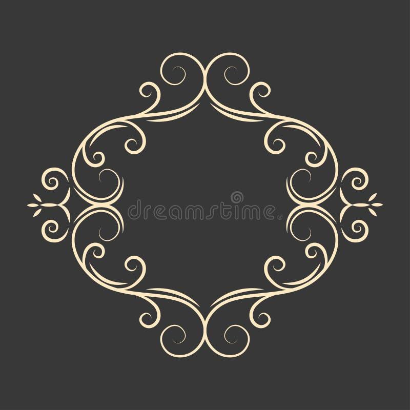 书法书法长圆形框架 装饰花卉设计元素 页边界 例证百合红色样式葡萄酒 向量 向量例证
