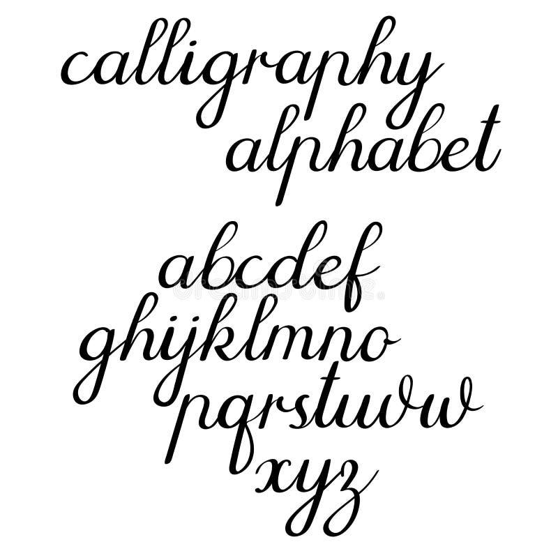 书法传染媒介字母表 经典书法,手写的信件 也corel凹道例证向量 库存例证