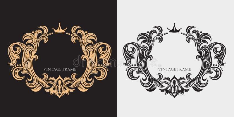 书法典雅的线艺术商标设计 装饰花卉组合图案 豪华装饰边界 金优美的框架 向量例证