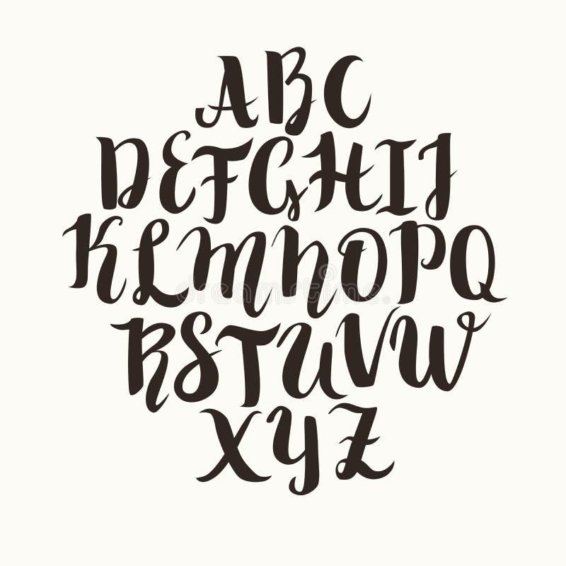 书法向量字体 在拉丁字母上写字,大写字母 皇族释放例证